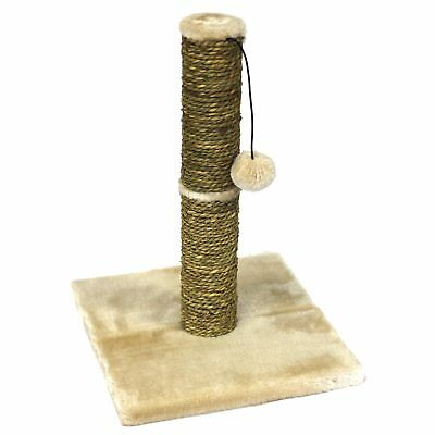 Pawise Seagrass Cat Scratch Post With Play Ball 42cm Kitten Feline Cat