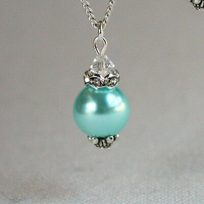 Aqua blue vintage pearl silver chain pendant necklace wedding bridesmaid gift