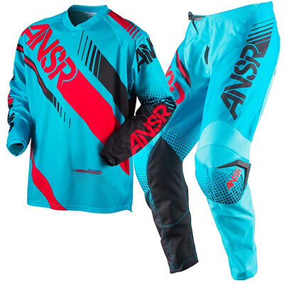 New ANSWER Racing 2017 SYNCRON CYAN RED MX Motocross Jersey Pants Outfit A17