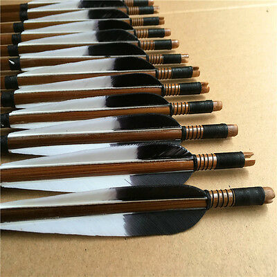 12x Handmade bamboo Arrows Turkey feather Longbow Recurve Bow