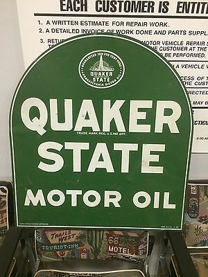 Orig VTG Quaker STATE OIL TOMBSTONE CURB Double Sided Porcelain 50s Station