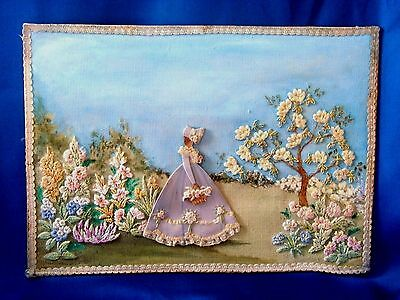 Vintage Hand Embroidered Picture / Panel Beautiful Crinoline Lady English Garden