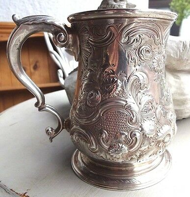 Spectacular Solid Silver 1 Pint Tankard Gilt Interior London 1756 Thomas Whipham