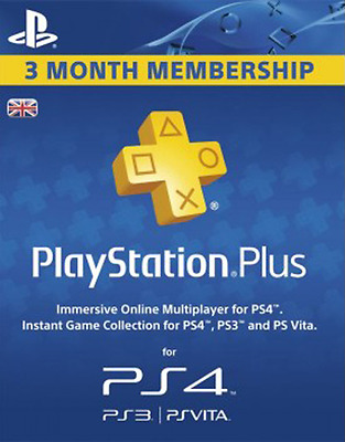 Playstation Plus 3 Month UK Membership Card - PSN 90 Days Code - SONY Key