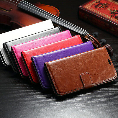 Card Holder PU Leather Flip Wallet Case Cover Stand Pouch For Samsung Galaxy