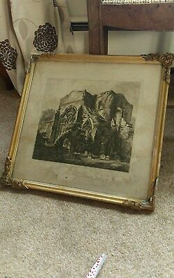 1811 signed etching of st johns church chester in aged gilt gesso frame