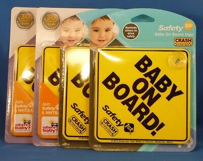 """NIP Safety 1st / Dorel Yellow """"Baby On Board"""" Sign #48918"""