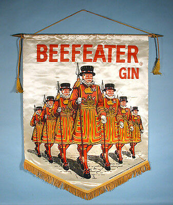 1960-70s Beefeater Gin Satin Silk Wall Banner Advertising Hanger Sign Distillery