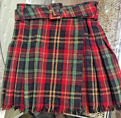 Vtg Limited Girl L 12 Plaid Fringe Wool Blend Belt Kilt skirt EUC