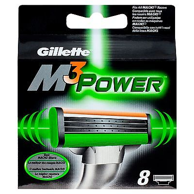 Gillette Mach 3 Power Replacement  Blades 8 - Uk  Stock Fast Dispatch - Free P&p