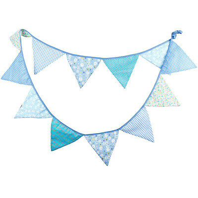 3.2M 12 Flags Blue Cotton Bunting Banner Pennant Wedding Party Baby Shower Decor
