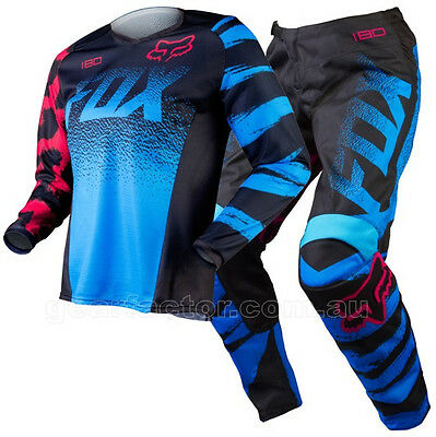 NEW FOX MX 2015 180 Blue Red Kids Girls Youth Motocross Jersey & Pants Outfit