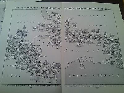 1924 Map of Plants Industries Central America W Indies  2 Pages to Frame