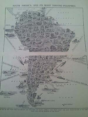 1924 Map of Thriving Industries of South America 2 Pages Ideal to Frame