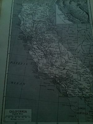 California Map 1921 in English Miles Single Page 1920's Encyclopedia to Frame ?