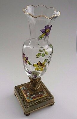 ANTIQUE 1860s VICTORIAN HAND PAINTED GLASS VASE WITH CLOISONNE AND BRASS BASE.