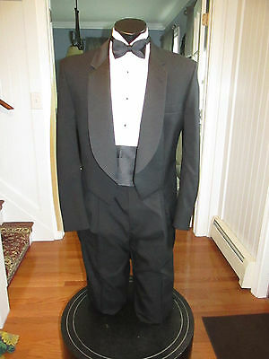 Mens Vintage Notch Lapel Black Tail Tuxedo Pierre Cardin 40R 4 Pcs Nb7