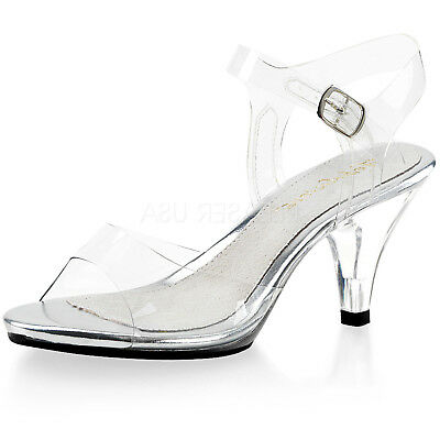 c00281ec3d9 Clear Ankle Strap Kitten Heel Women Sandal Princess Wedding Bridal Shoe  Open Toe