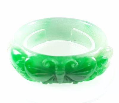 Jade Bracelet Bangle Antique Chinese Natural Icy Green-White Grade A Butterfly