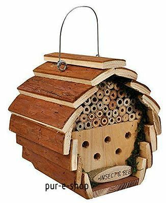 Birds House Box Nesting Hanging Station Bird Wooden Fairy Hotel Garden Durable