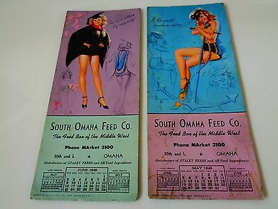 2- Advertising Ink Blotters - Pin Up Girl Calendar 1946  - South Omaha Feed