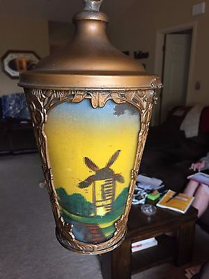 Antique Ceiling Light with reverse ribbed painted glass of windmills