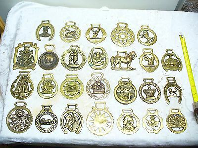 LOT of 25 ~Horse Brass Tack Medallion~Saddle brass - Vintage / England & others