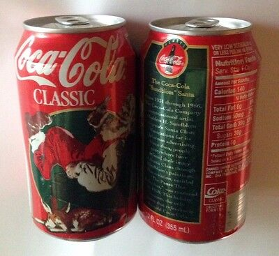 UNOPENED 1995 Coca-Cola Christmas Santa Cans lot of 2