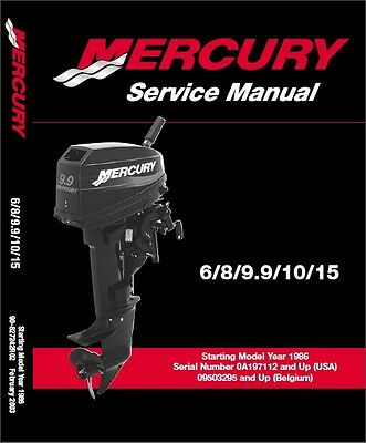 Mercury 6 / 8 / 9.9 / 10 / 15 2-Stroke Outboard Motor Service Repair Manual CD