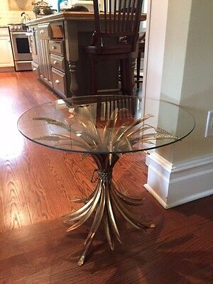 Vintage Gold Gilt Sheaf of Wheat Side Table A, Coco Chanel Style, Glass Top