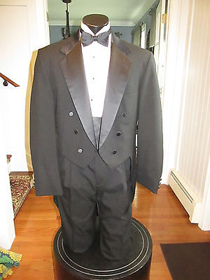 Mens Vintage Notch Lapel Black Tail Tuxedo Oscar De La Renta 42L 4 Pcs Nb8