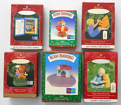A Hallmark Merry Miniatures Collection (6) Piece Winnie The Pooh Lot NEW In Box