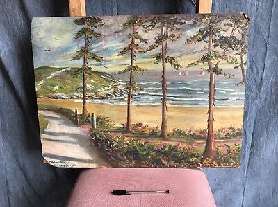 Original Vintage Oil Painting On Board Of Caldwell Bay By C A Bennett In 1964