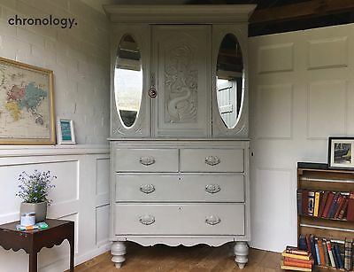 Antique Vintage Dresser, Linen Press, Larder Cupboard Painted in Farrow and Ball