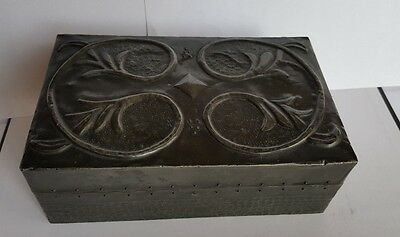 Period Genuine Arts and Crafts Pewter Tooled Box with Pine Liner - circa 1905