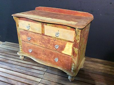 Set Of Original Victorian Antique Pine drawers With Serpentine Top - Shabby Chic