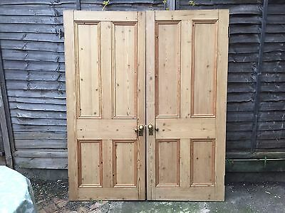 Pine Doors - Pair. Four Panneled, Antique - beautiful condition