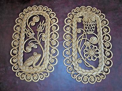 """Collectable Vintage Burwood  Wicker Wall Hanging Plaques Owl Frog Flowers 18"""" H"""