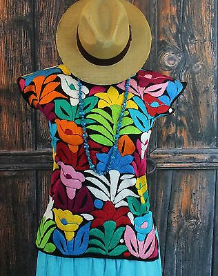 Hand Embroidered Multi-Color Calla Lily Huipil blouse Jalapa Mexico Hippie Boho