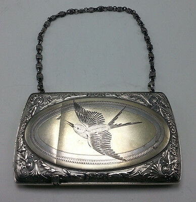 Gorham Sterling Card Case with Engraved Bird and Chain Handle