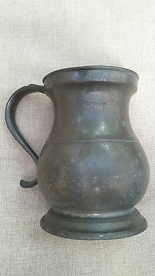 antique Georgian pewter tankard