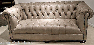 New Restoration Hardware style Chesterfield hand made Gray leather SOFA Couch
