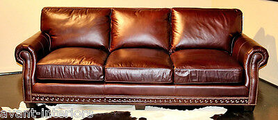 LARGE WESTERN STYLE SOFA delicious Chocolate Brown BEST TOP GRAIN LEATHER Couch