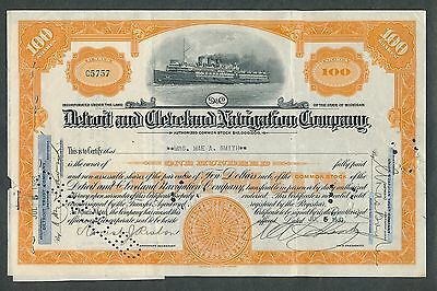 1933 Detroit and Cleveland Navigation Co. Steamship Stock Certificate