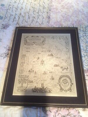 FRAMED MAP of WORCESTERSHIRE By  RJL & PM SMITH Wolverhampton