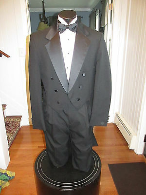 Mens Vintage Notch Lapel Black Tail Tuxedo Oscar De La Renta 40L 4 Pcs Nb22