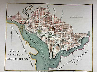 ANTIQUE 1798 MAP Washington DC HAND COLORED GORGEOUS VERY EARLY VERY SPECIAL!
