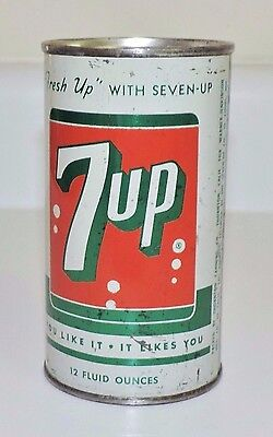"Rare Original 1960's Seven- 7- Up  Pull Tab 12 oz Can  ""  Nice  """