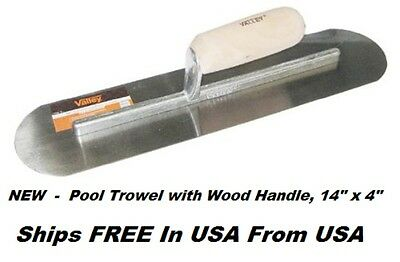"Pool Trowel with Wood Handle, 14"" x 4""   NEW    Blades Fully Rounded  Ships FREE"