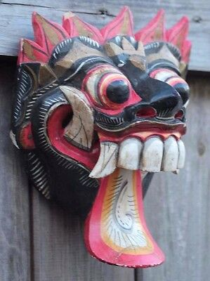 used old quality hand carved Painted Balinese rungda wall mask wallhanging 200mm
